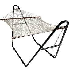 15 Ft Hammock Stand Sunnydaze Cotton Double Wide 2 Person Hammock With Spreader