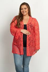 coral lace bell sleeve plus size cardigan