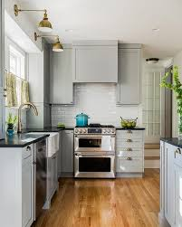 Grey Shaker Kitchen Cabinets by Gray Kitchen Cabinets With Soapstone Countertops And Beveled