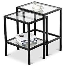Amazon Com Yaheetech Set Of 2pcs Glass Nesting Tables Living Room