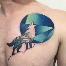 geometric howling wolf on chest best ideas gallery
