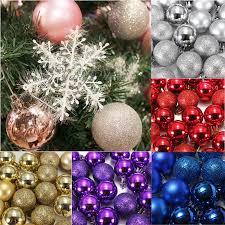 Decorate Christmas Ornament Ball 24pcs christmas tree baubles plain glitter diy decoration xmas