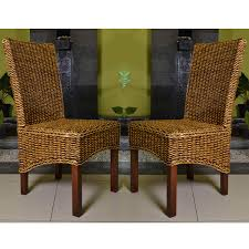 Set Of Two Dining Chairs International Caravan Set Of Two Gaby Woven Banana Dining Chairs