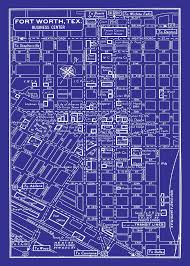 Fort Worth Texas Map Vintage Map Of Fort Worth Texas Blueprint Map Print Poster