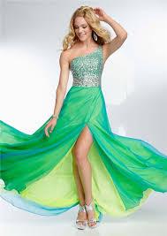 one shoulder long yellow green chiffon layered beaded prom dress