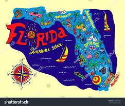 Map Of Flirida Cartoon Map Florida State Travel Attractions Stock Vector
