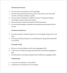 Sample Resume For Software Engineer With 2 Years Experience Java Developer Resume Template U2013 14 Free Samples Examples