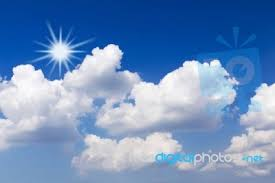 blue sky with white clouds and sun stock photo royalty free image