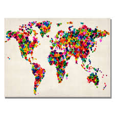 World Map Wall Poster by Hearts World Map Canvas Love Pinterest Map Canvas Canvases