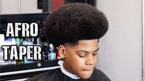 afro hairstyles taper fade afro shape up taper barber tutorial learn how to cut a fro youtube