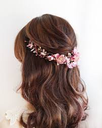 floral hair accessories alanna gold and dusty pink flower hair vine