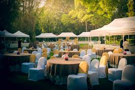 outdoor early morning wedding decor taj westend bangalore