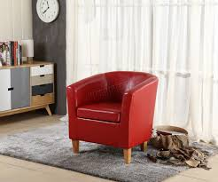 Red Faux Leather Dining Chairs Foxhunter Tub Chair Armchair Faux Leather Dining Room Office