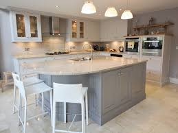 kitchen room white beadboard island with grey tile grey island