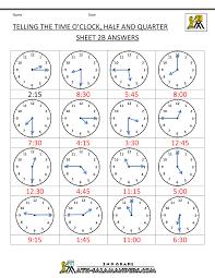 time worksheet o u0027clock quarter and half past