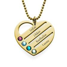 heart necklace gold plated images Heart necklace with engraved names in 18k gold plating my family jpg
