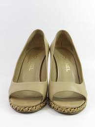 chanel women classic gold chain leather wedges peep toe shoes hee