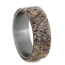 Deer Antler Wedding Rings by Mens Wedding Band Natural Deer Antler Ring Over Titanium Band