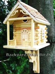 log cabin bird house at backyard birds