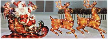 outdoor lighted santa sleigh reindeer dma homes 80534
