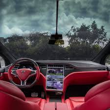 red velvet bentley custom tesla model x with bentley red interior selling for 180k