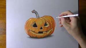 drawing 3d halloween carved pumpkin youtube