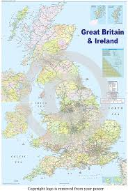 Map Of Ireland And England by Huge Laminated Encapsulated Map Of The Uk British Isles Gb Road