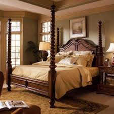 Bed Frame Post by Traditional Cherry Finish Wood Four Post Queen King Canopy Bed