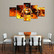 Firefighter Home Decorations Firefighter Wall Art Canvas Print Home Decor Set 5 Piece Fire