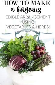 edible floral arrangements easy centerpiece using vegetables fruit herbs setting for four