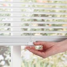 How To Shorten Blinds From Home Depot Intercrown White 1 In Cordless Light Blocking Vinyl Mini Blind