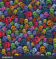 background pattern halloween cute colorful skulls crossbones seamless pattern stock vector