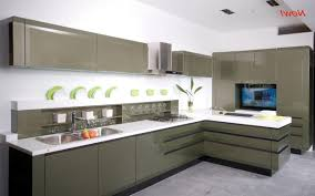 sleek small kitchen design with u shaped cabinets and small
