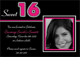 sweet 16th birthday invitation with photo closeup and white font