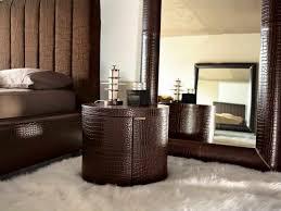 round brown top grain leather storage nightstand on white fur rug