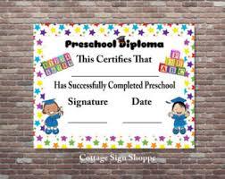 preschool graduation decorations preschool diploma etsy