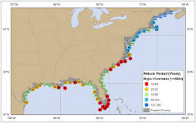Map Of The Southeastern United States by Tropical Cyclone Climatology