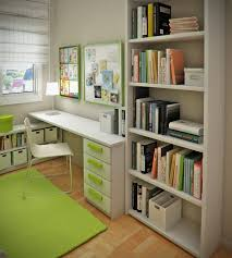 White Storage Bookcase by Green Soft Carpet With White Student Desk Also Chair Drawers
