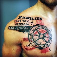 compass with family quote mens chest and