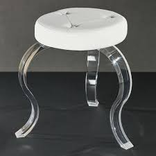 urban modern round off white vanity stool with acrylic legs