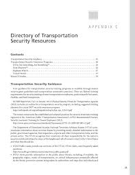 appendix c directory of transportation security resources