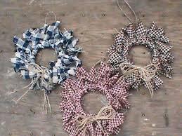 12 primitive decor homespun mini rag wreath ornaments primitive