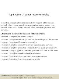 Managing Editor Resume Example Top8researcheditorresumesamples 150723085522 Lva1 App6892 Thumbnail 4 Jpg Cb U003d1437641769