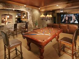 Media Game Room - mountain rustic man cave family room decor basement decorating