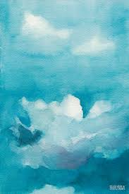blue and white painting blue sky white clouds watercolor painting painting by beverly brown