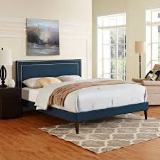 Fabric Platform Bed Modway Furniture 5652 Navy Blue King Fabric Platform Bed Frame