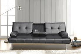 Modern Faux Leather Sofa Black Modern Faux Leather Sofa Bed Click Clack Settee 2 3
