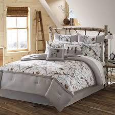 Camo Duvet Cover King 4pc White Camo Bedding Set Grey Nature Print Rustic Country
