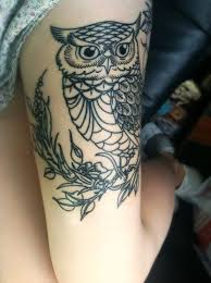 16 best girls owl thigh tattoo sketches images on pinterest owl
