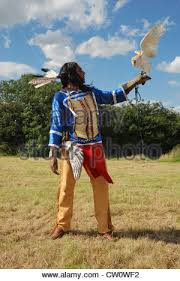 a man posing in traditional lakota sioux dress with a barn owl